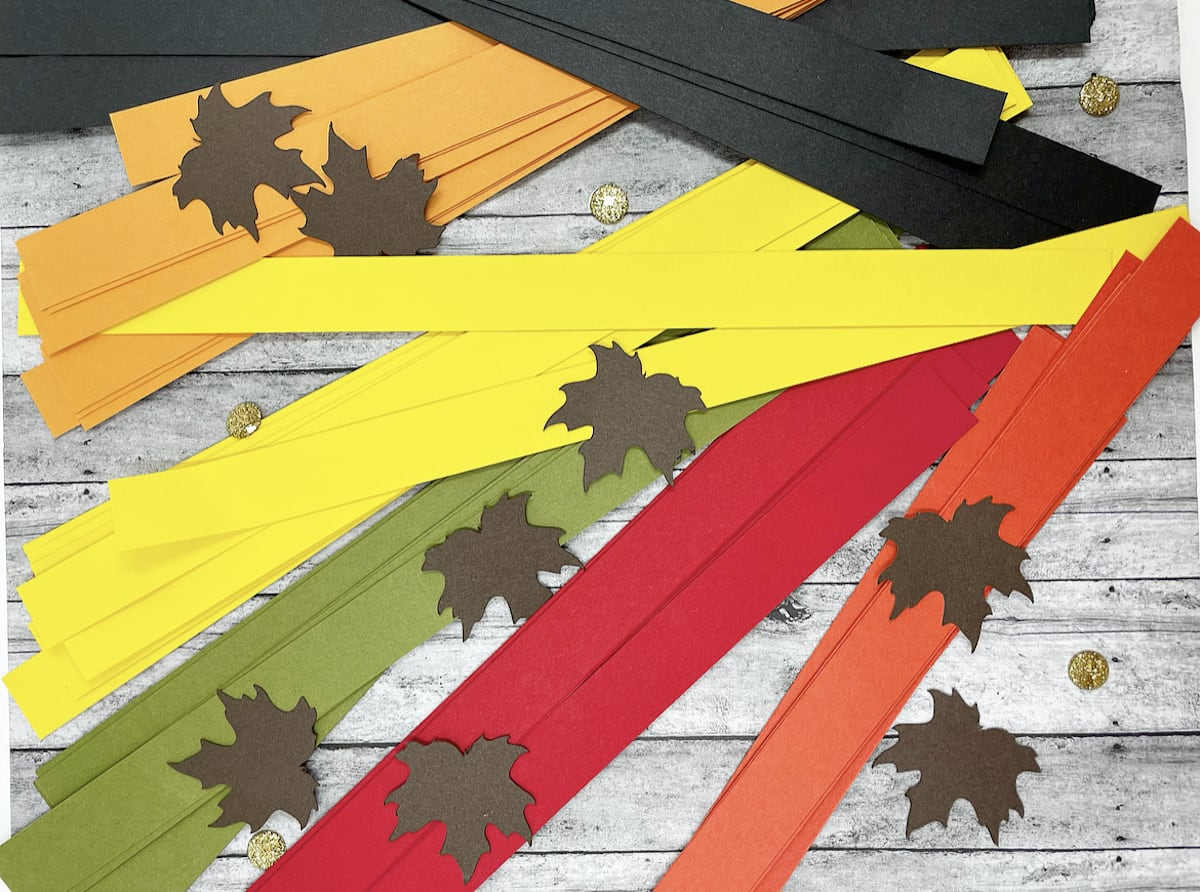Place setting strips and die cut leaves