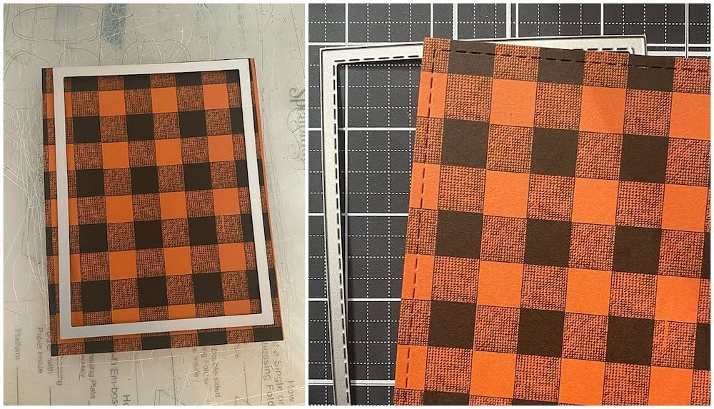 plaid digital background printed on rust colorplan cardstock and die cut into a rectangle