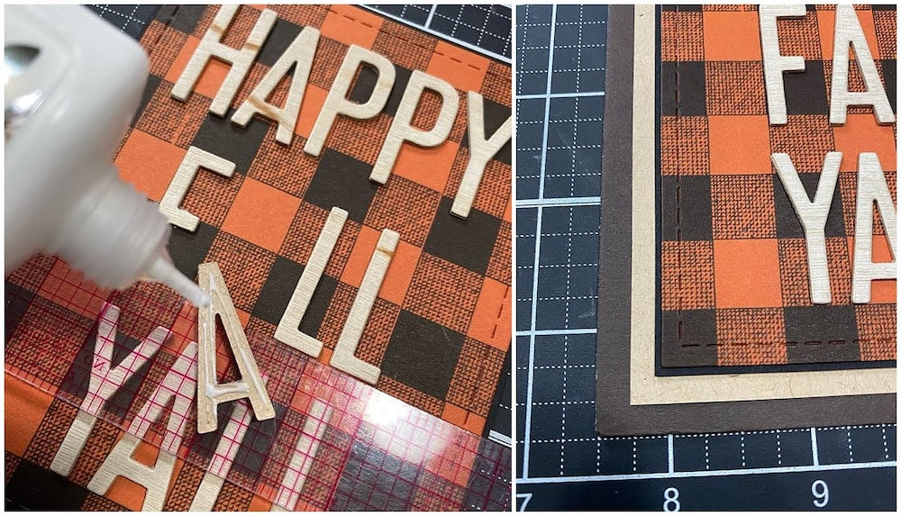 using a ruler to attach letters to the plaid card base
