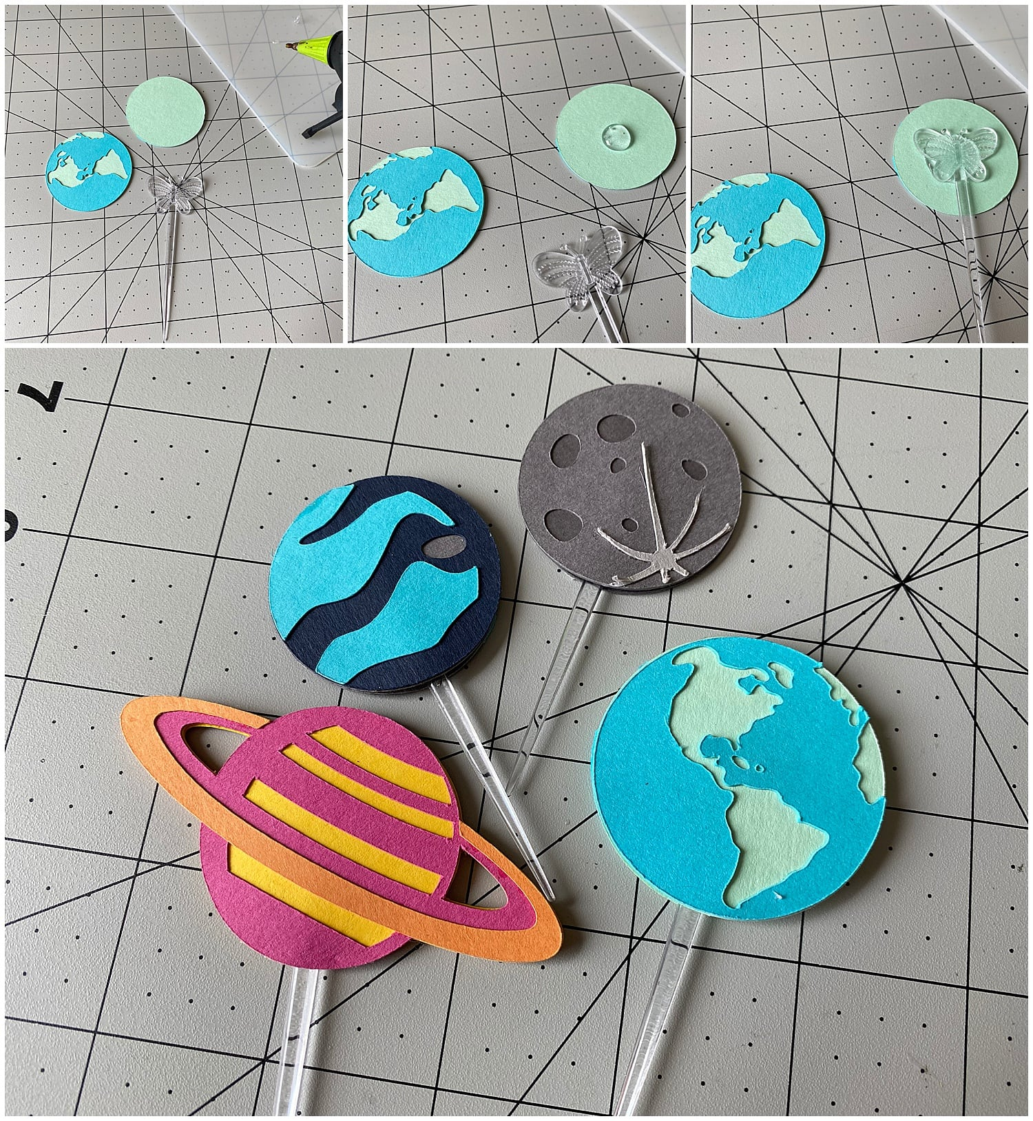 turning paper planets into cupcake toppers