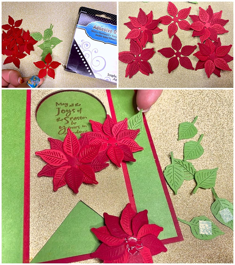 layering flower petal pieces to create poinsettia card