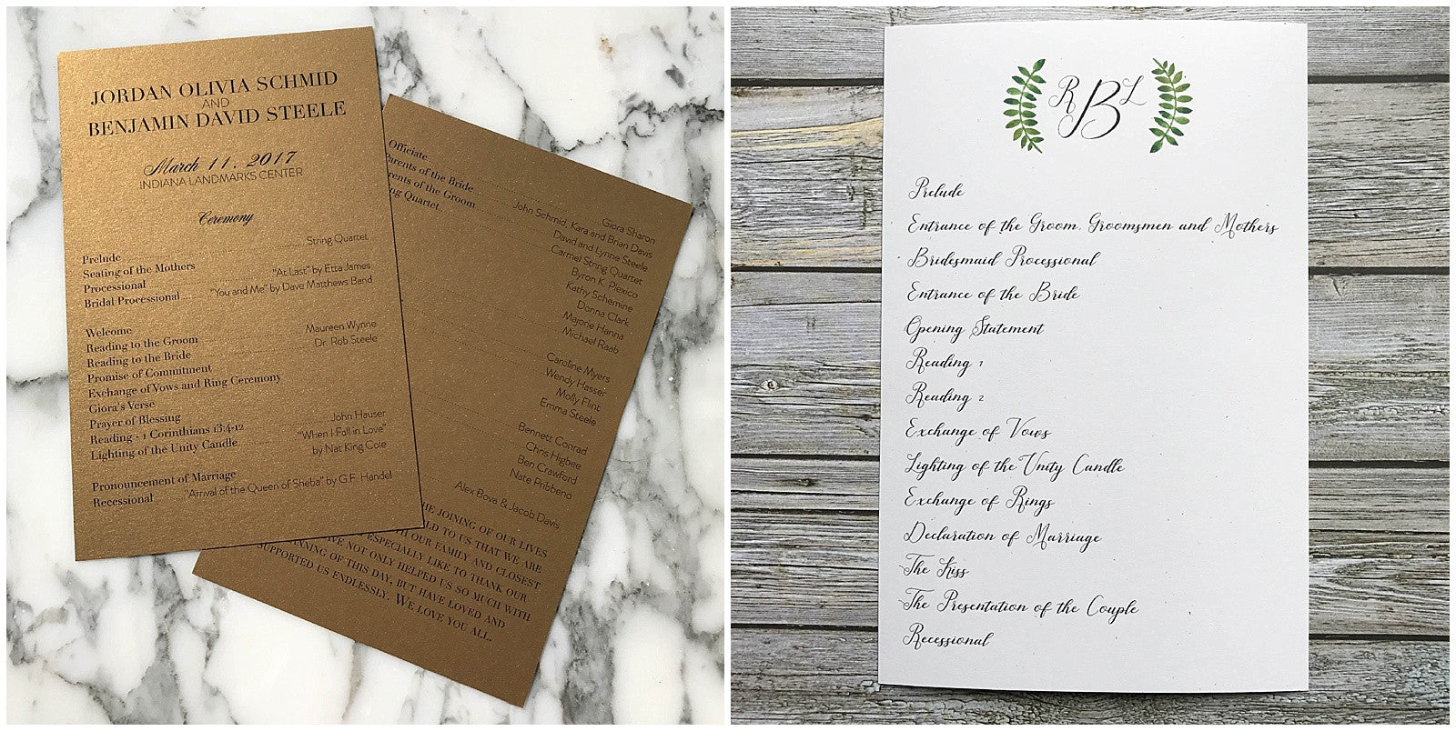 programs made with antique gold stardream and starch white speckletone