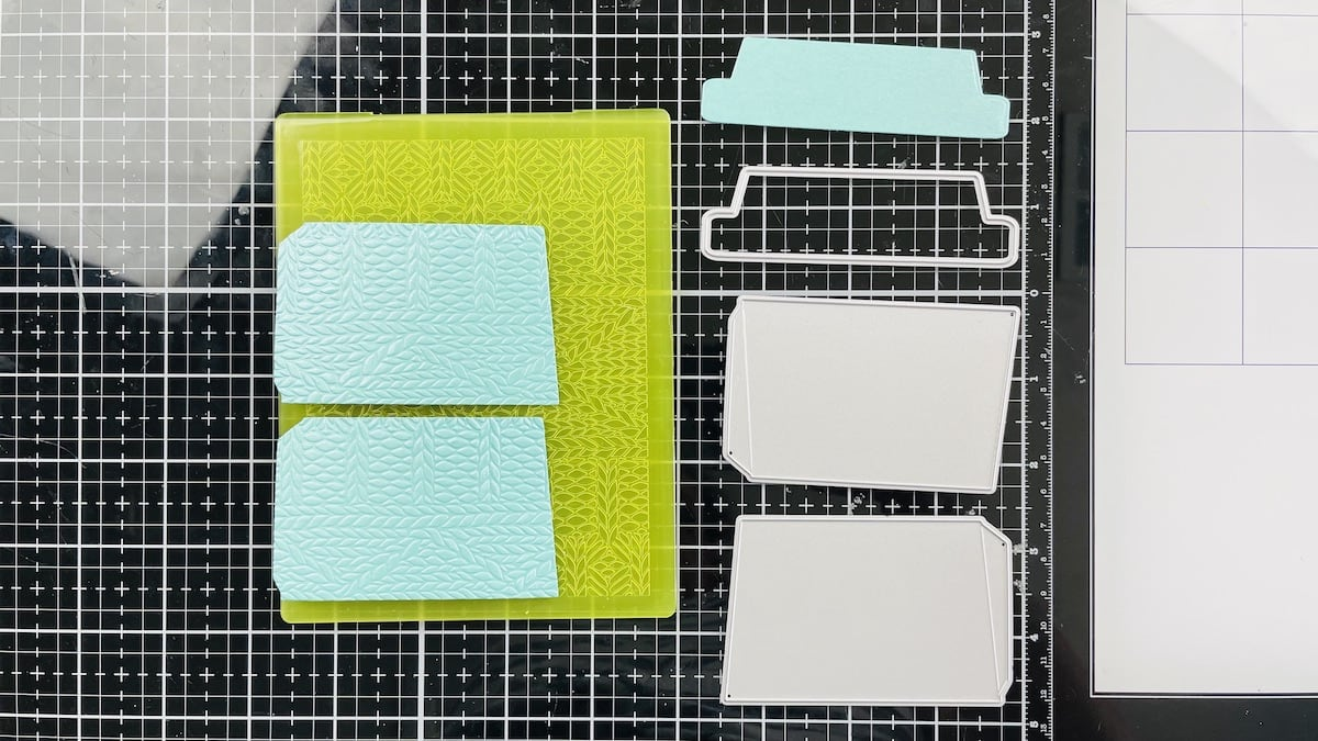 die cut and embossed pieces for pumpkin coffee cup card