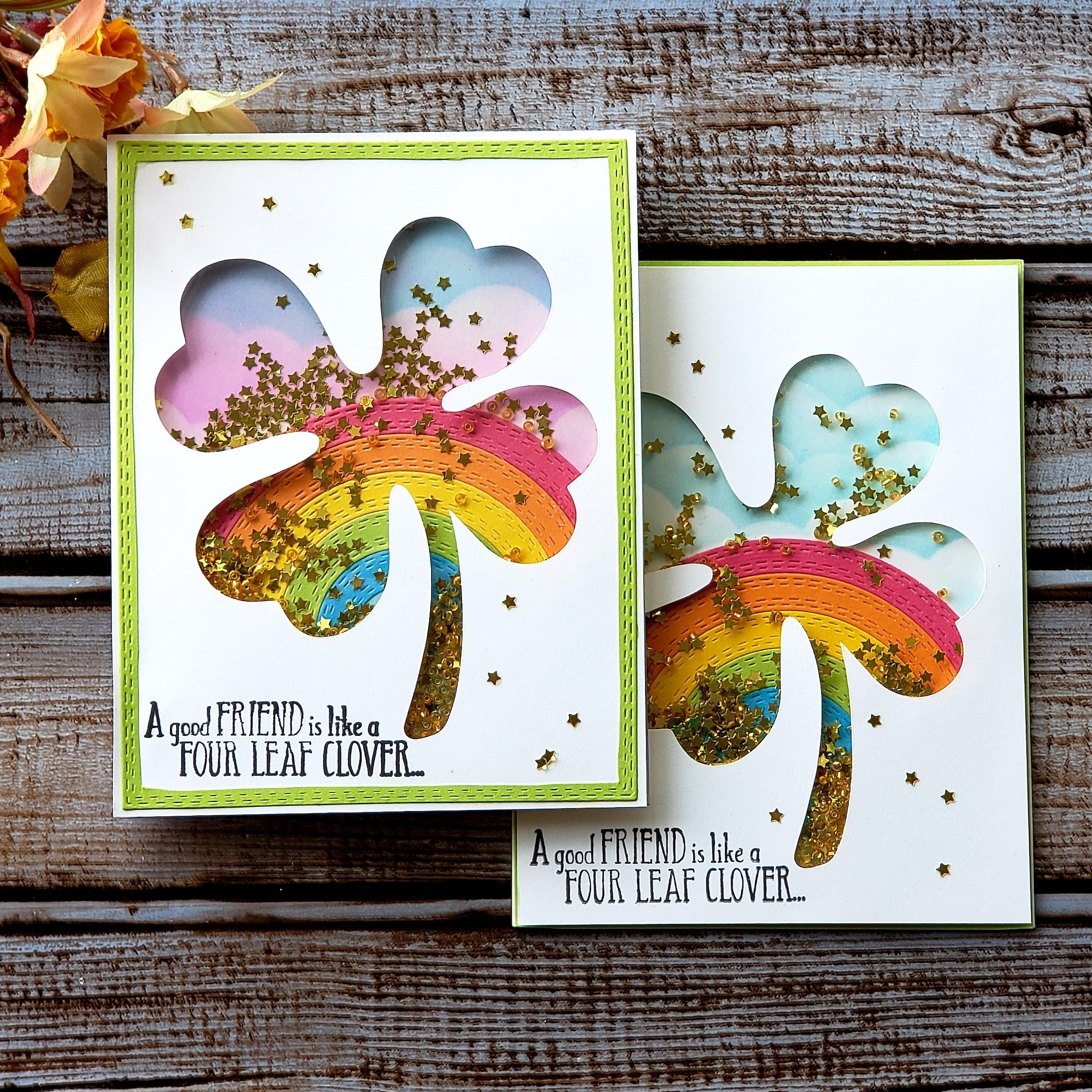 St. Patrick's Day Rainbow Clover Shaker Card