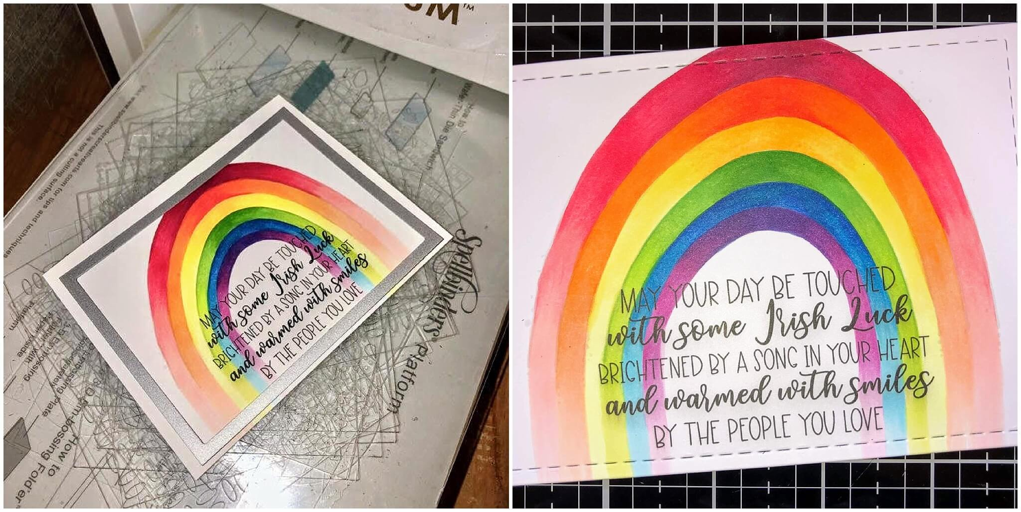 Cardstock Paper Rainbow Coloring Greeting Card