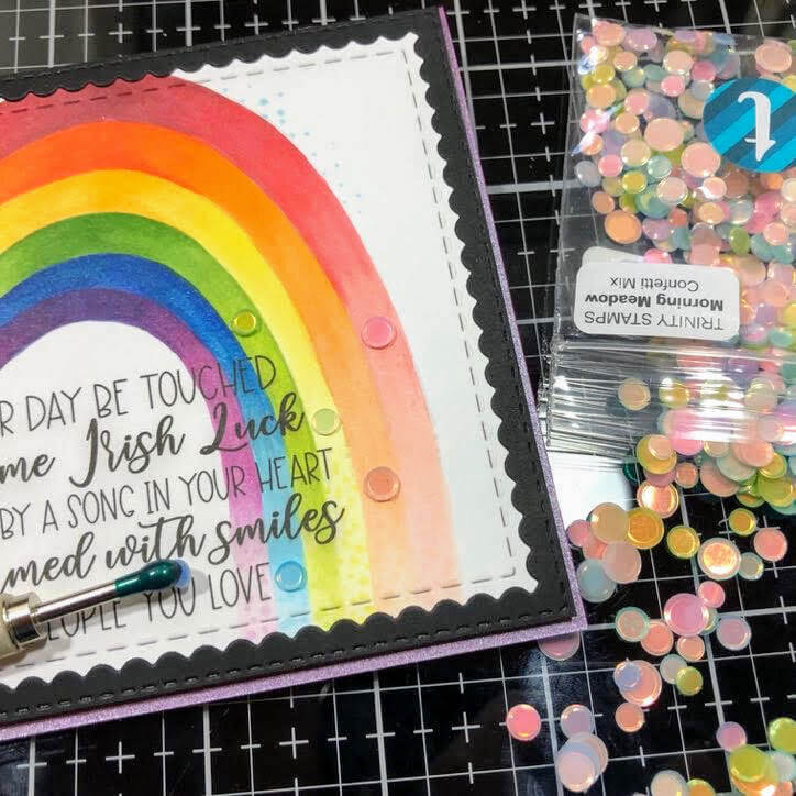 Cardstock Paper Rainbow Coloring Greeting Card Sequins