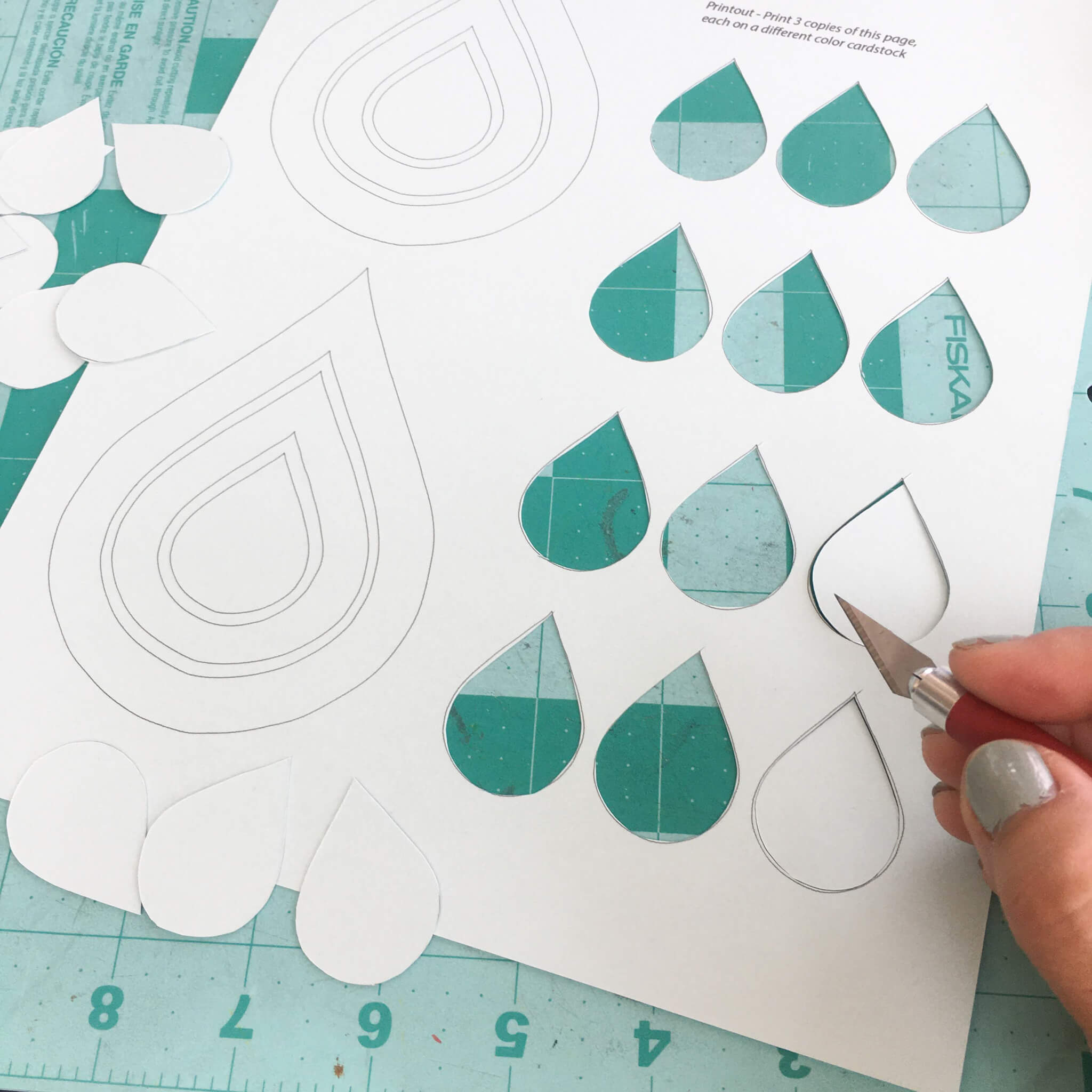 Paper Raindrops Hanging Mobile Template Cutting