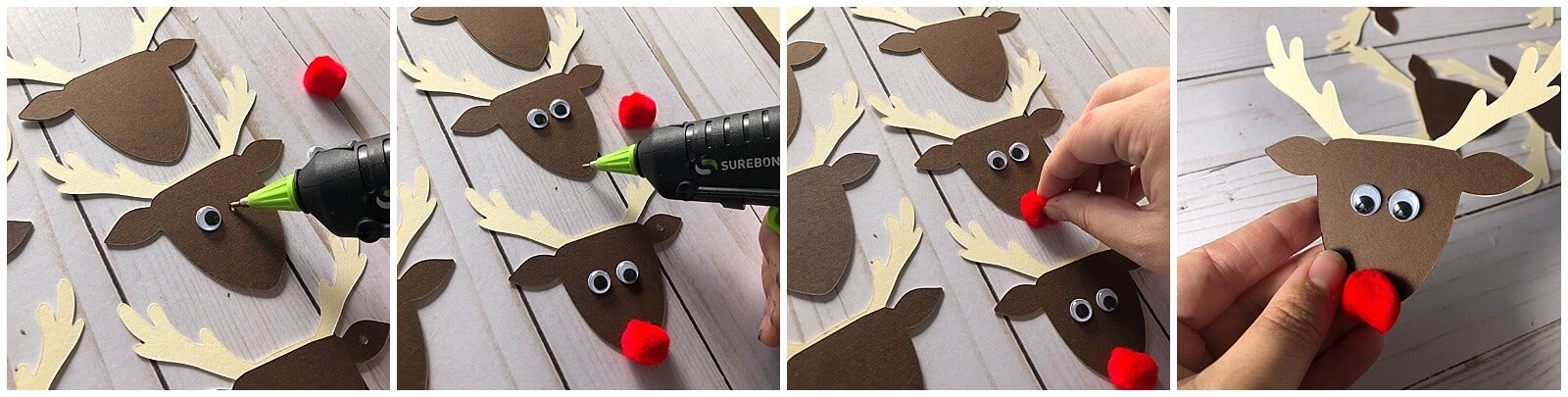 Cardstock Paper Reindeer Christmas Gift Tags Kids Craft Gluing