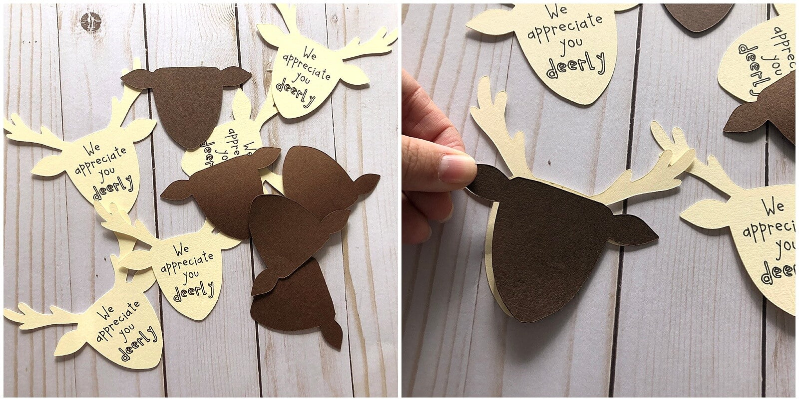 Cardstock Paper Reindeer Christmas Gift Tags Kids Craft Die Cut Pieces
