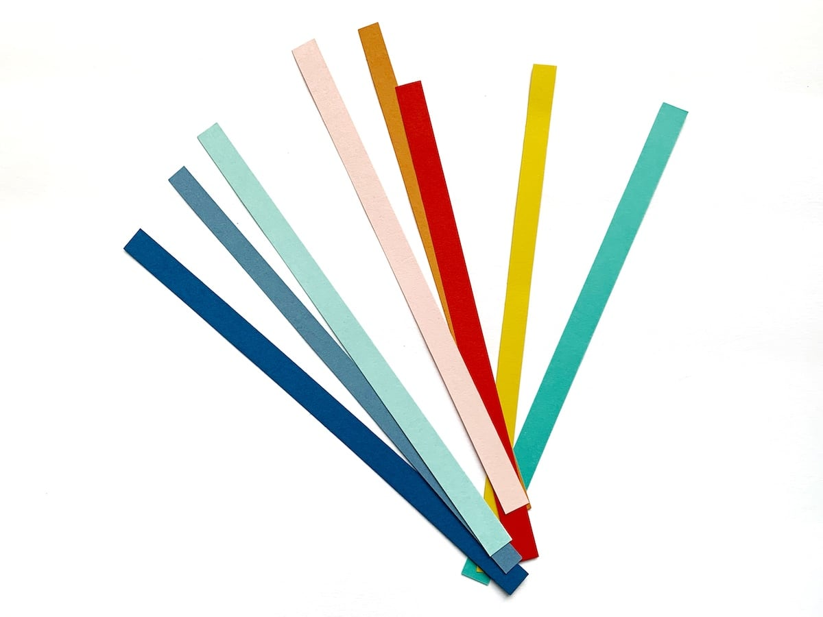 back to school layout rainbow paper strips