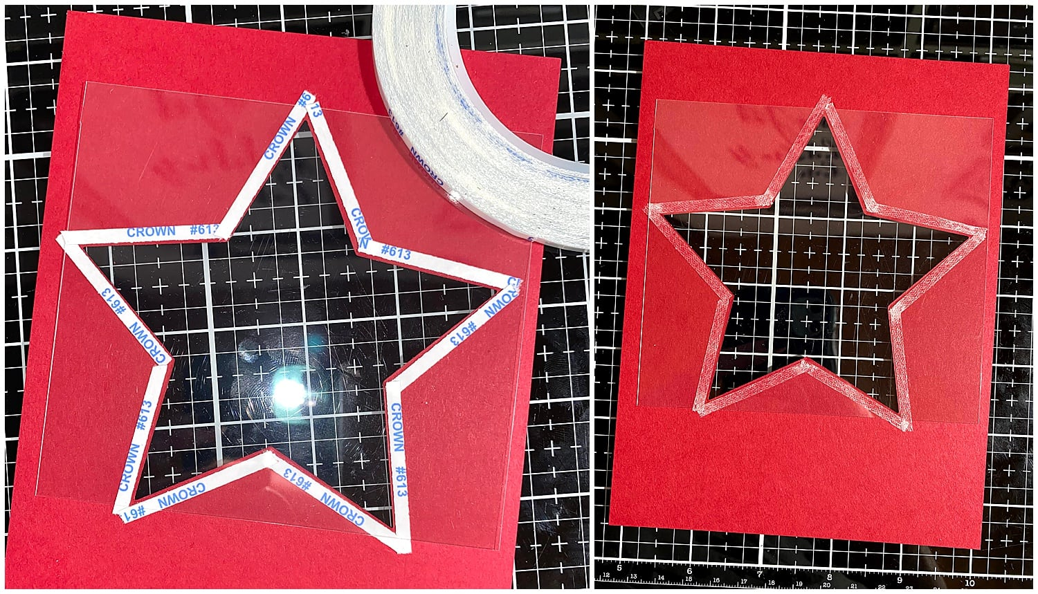 adding first layer of acetate to Electric Red paper