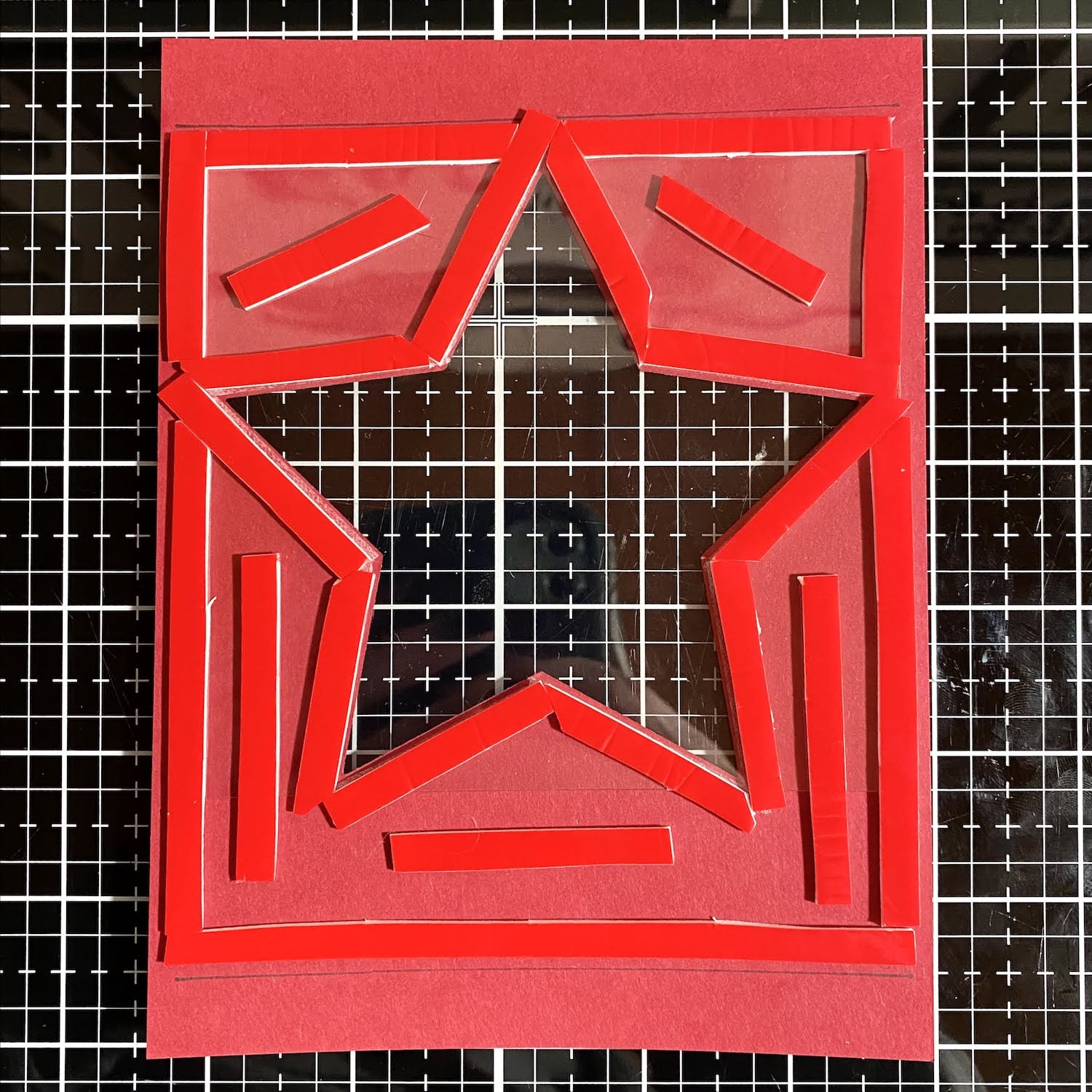 adding foam tape to electric red layer