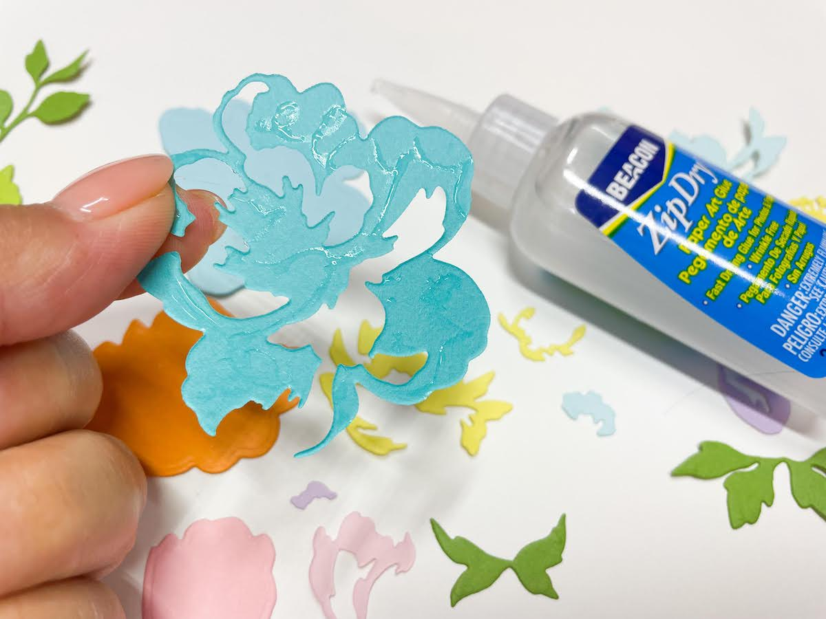using zip dry adhesives to glue flower layers together