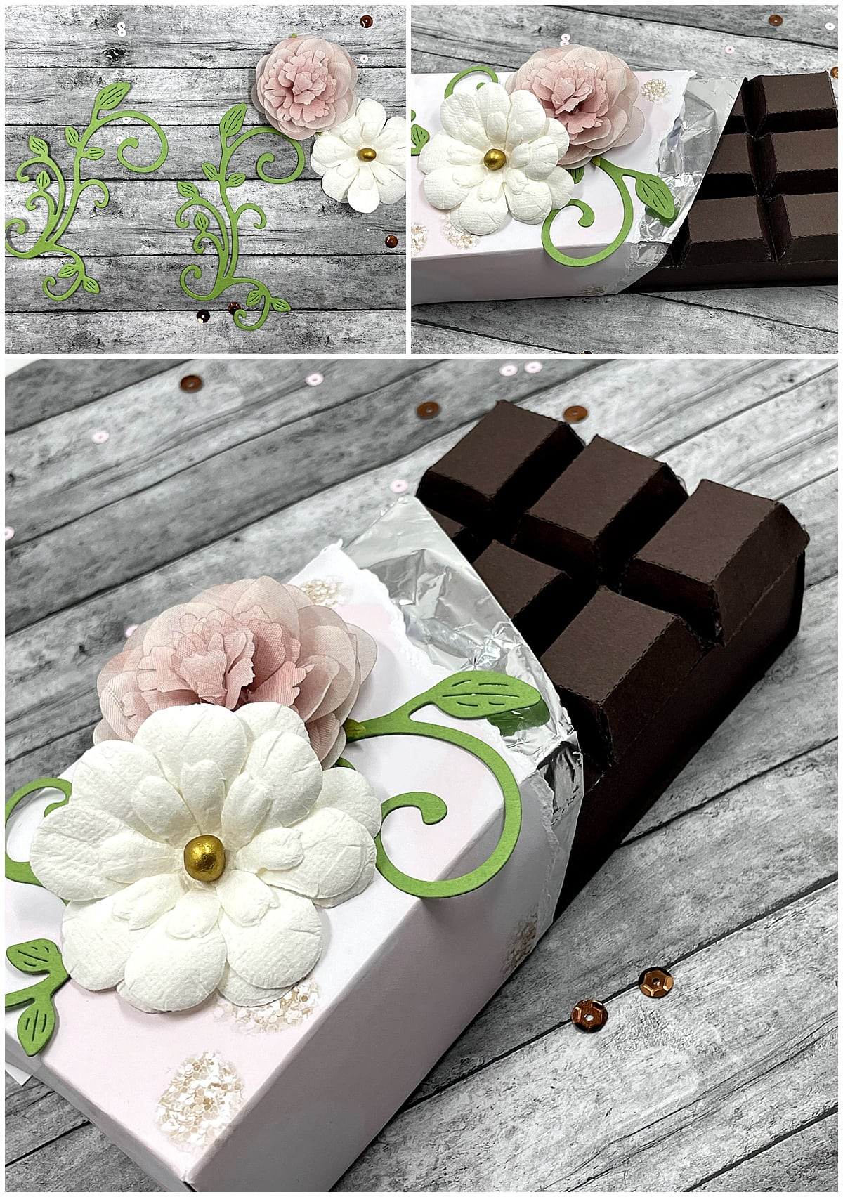 adding decorations to paper chocolate bar