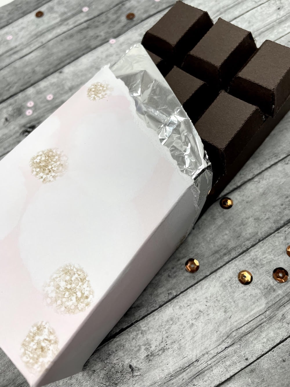wrapping paper chocolate bar in patterned paper