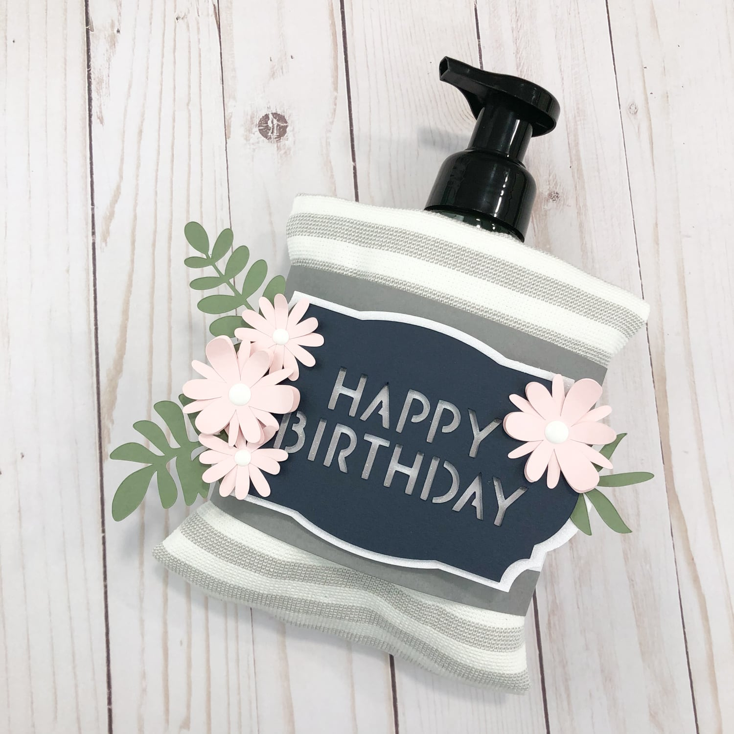 happy birthday gift wrapper with soap and towel