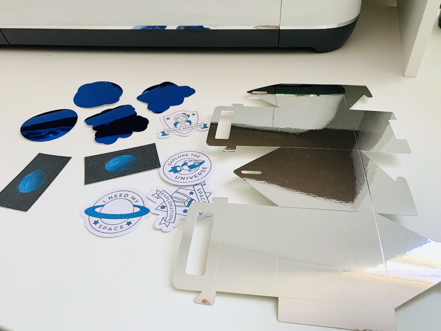 die cut pieces for outer space gable treat boxes