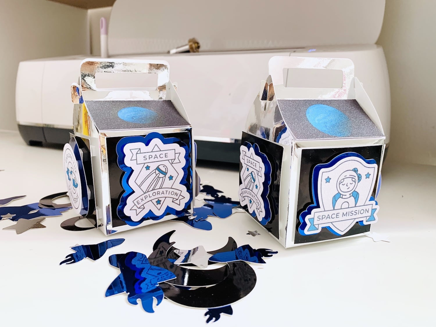 Outer Space Themed Gable Treat Boxes