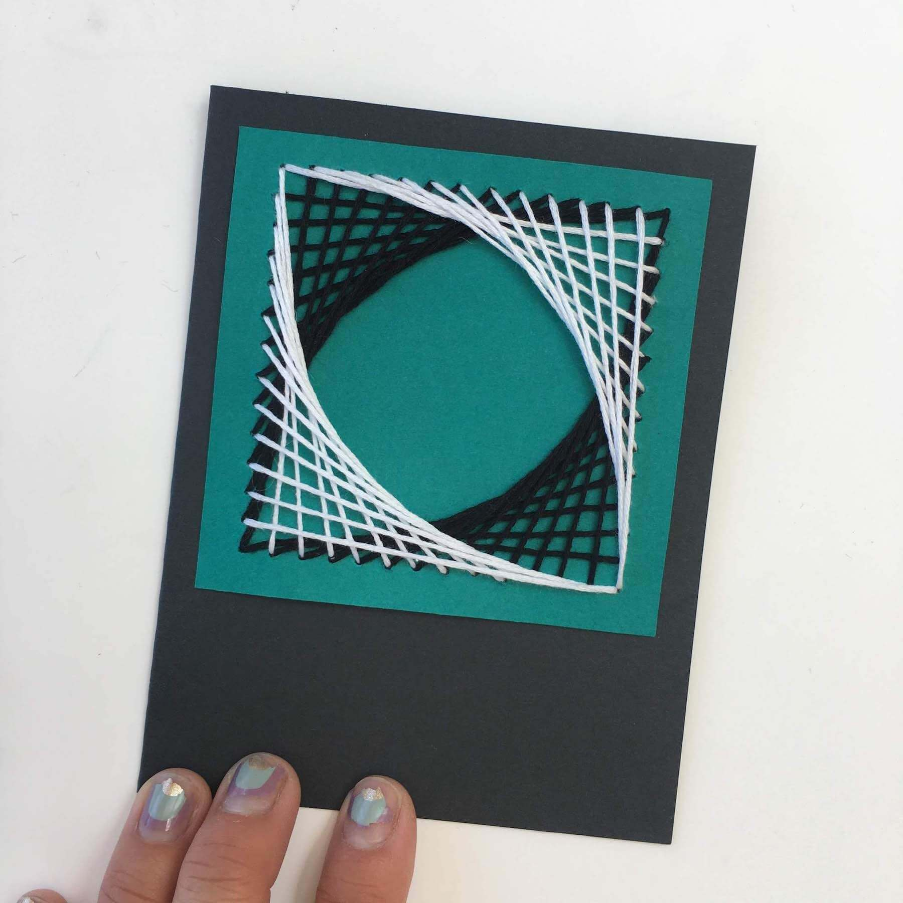 String art paper piercing card