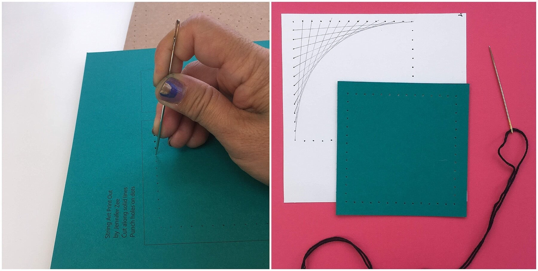 Piercing holes in cardstock for string art