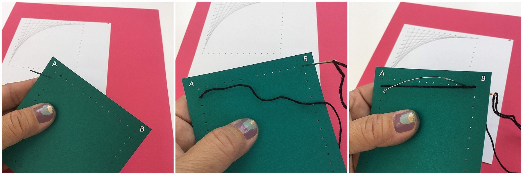 starting your stitches on pierced paper