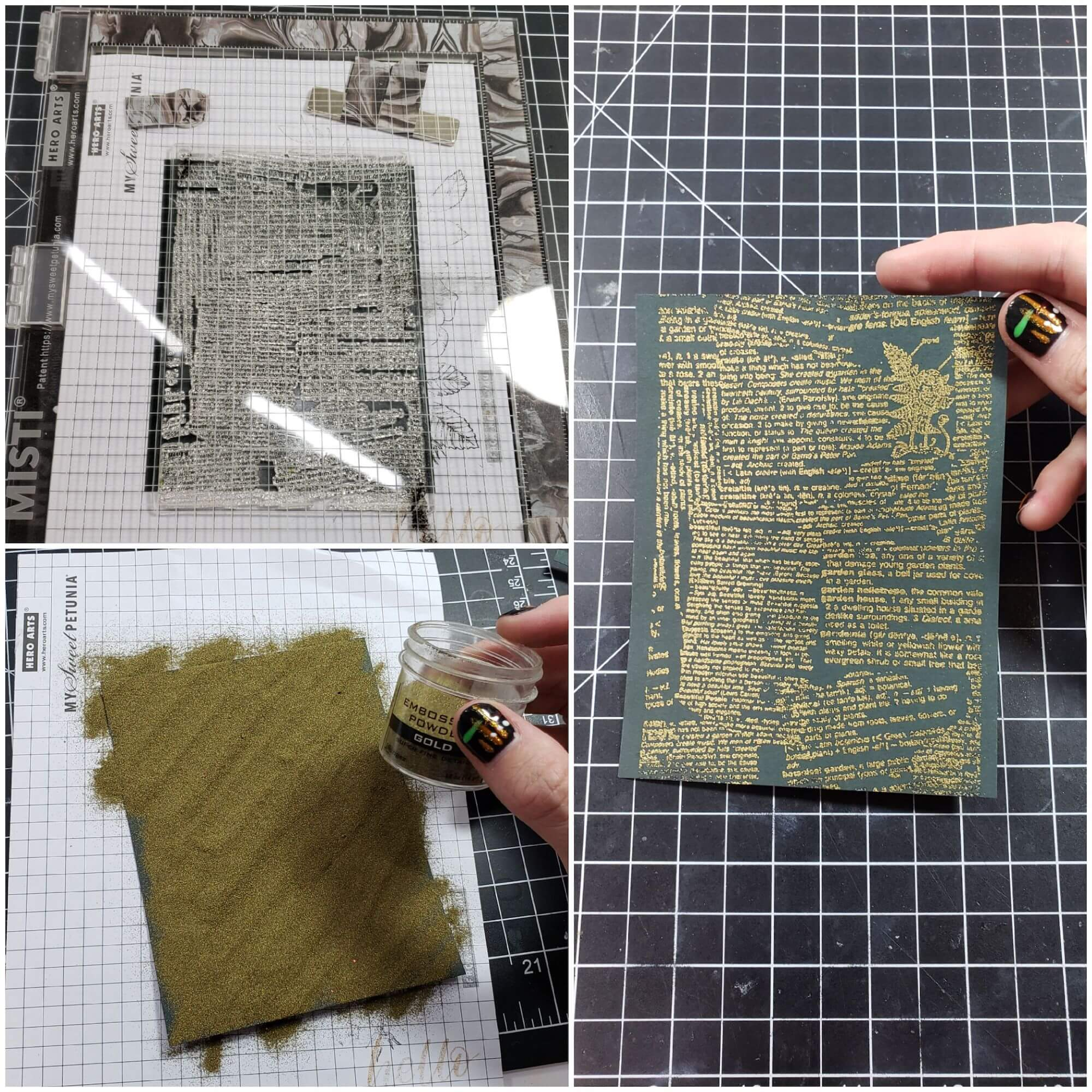 heat embossing background stamp onto Timber Green