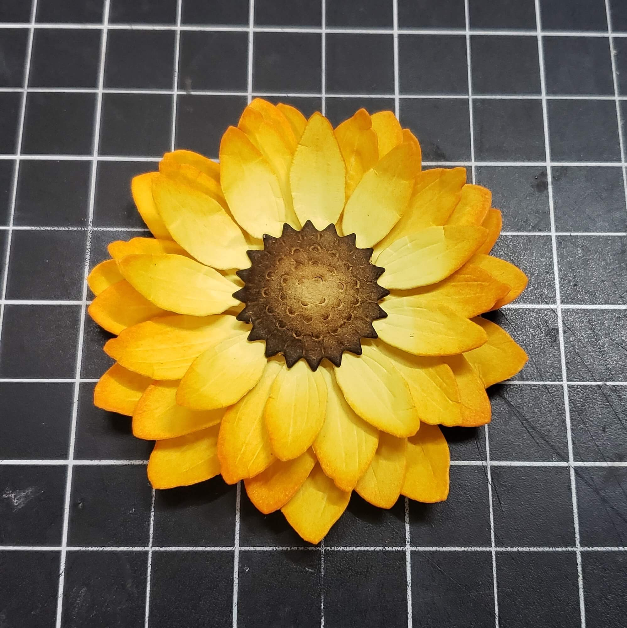 Sunflower petal rings all glued together