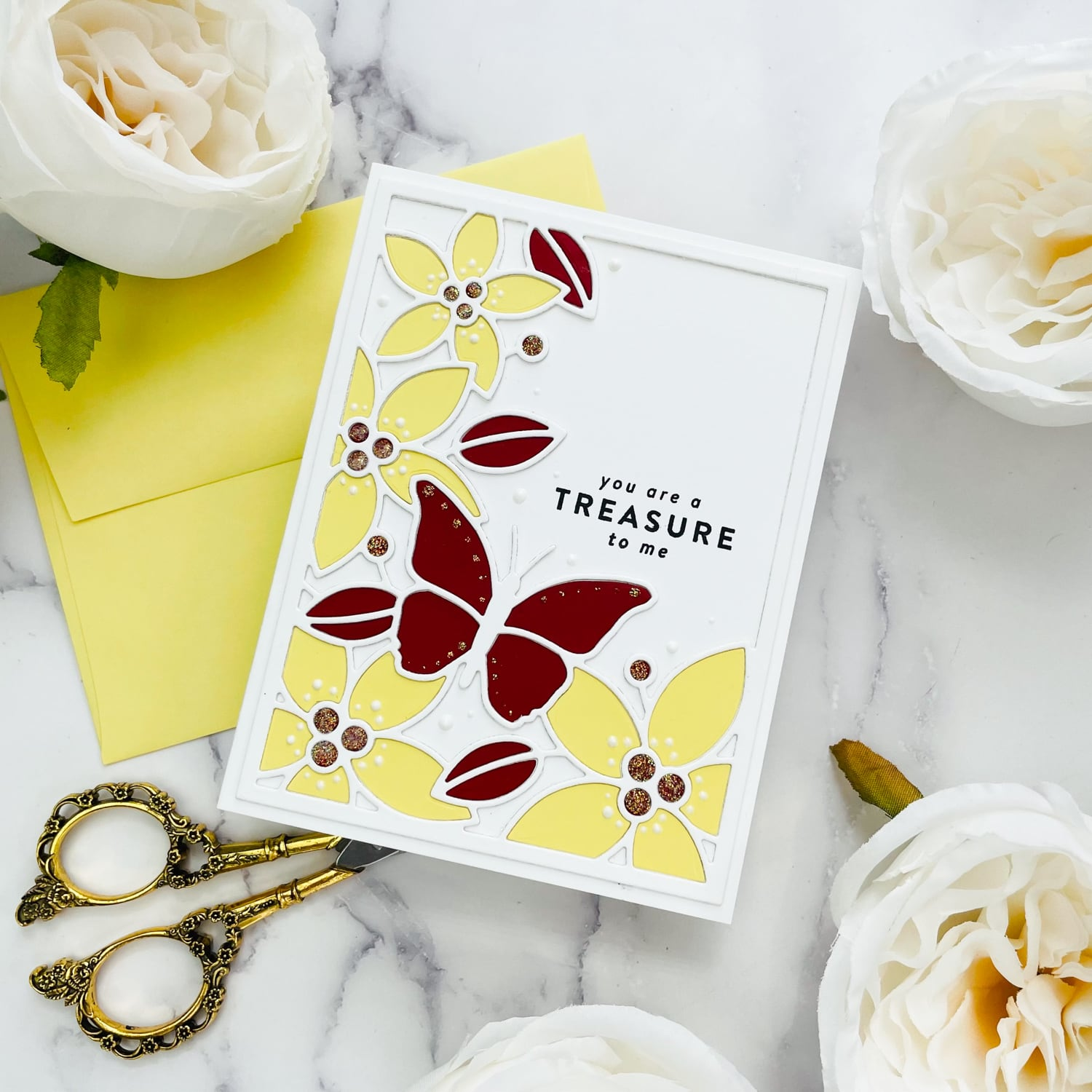"""finished die cut inlay """"you are a treasure"""" card"""