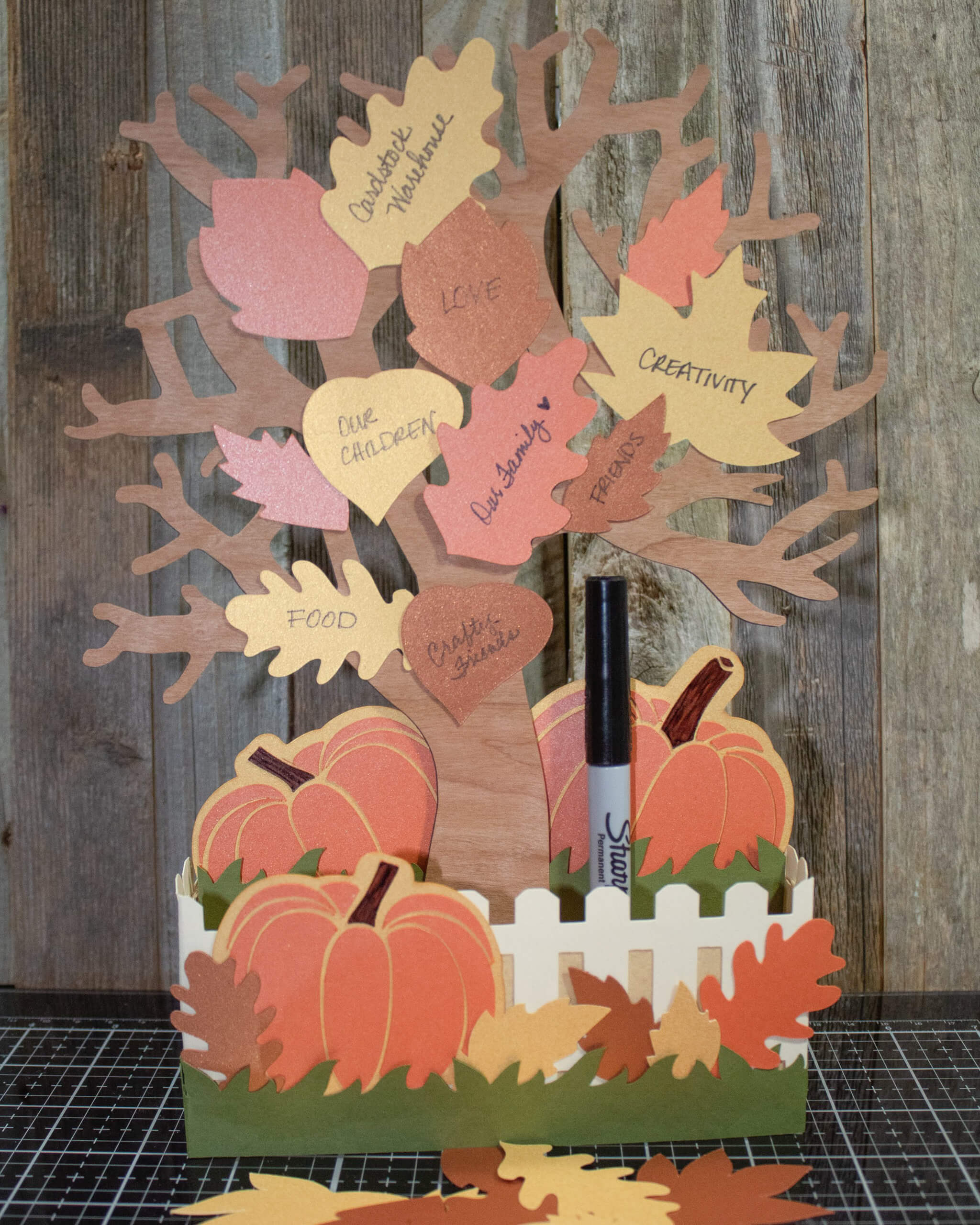 3d cardstock paper thanksgiving gratitude tree centerpiece