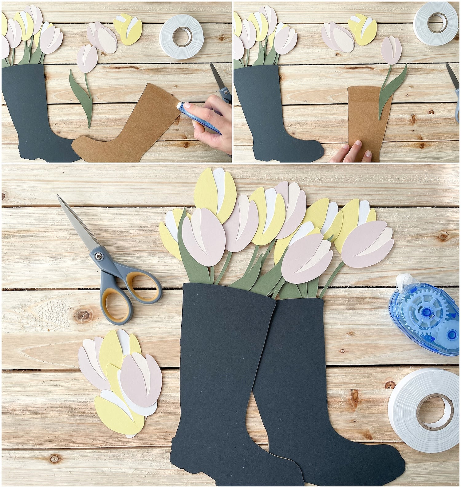 adding paper tulips to paper rain boots