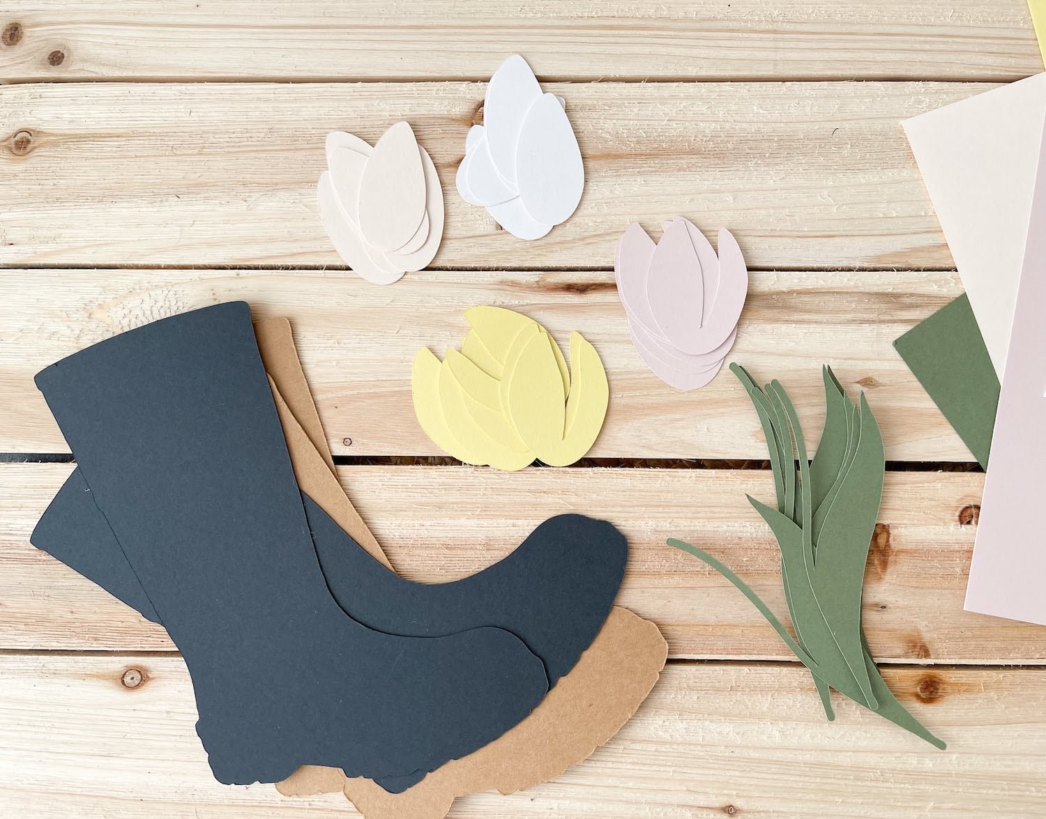 Die cut pieces for Tulip filled Rain Boots Wreath