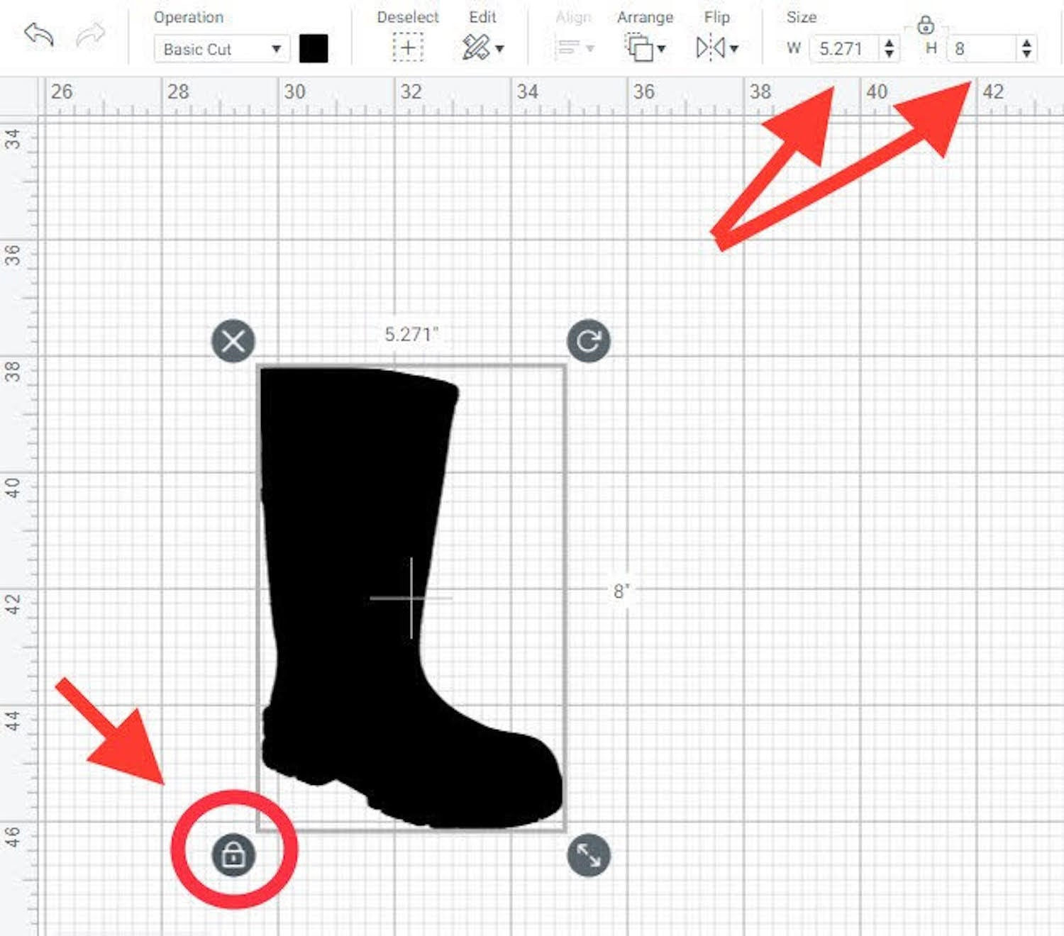 resizing boot file in Cricut Design Space