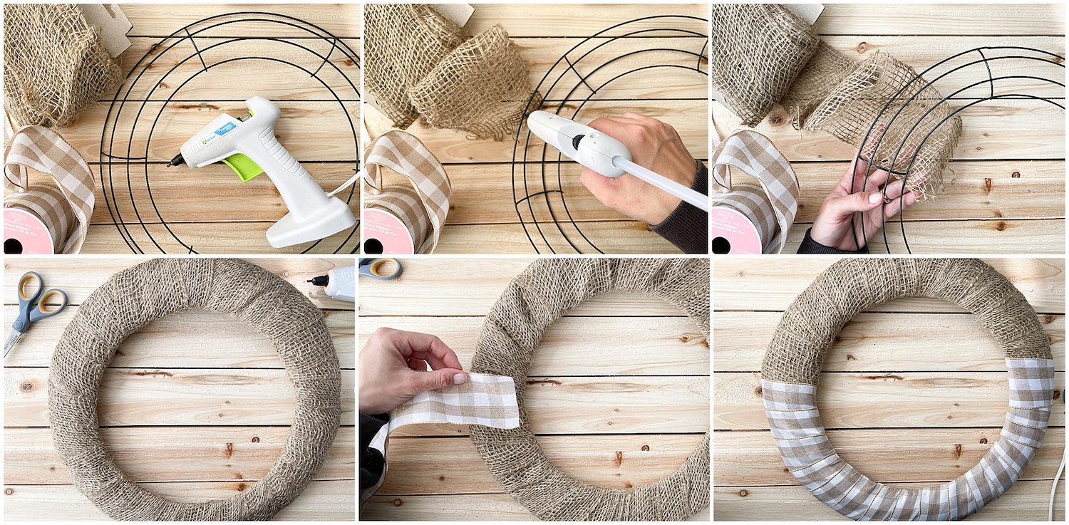wrapping burlap and ribbon around wreath frame