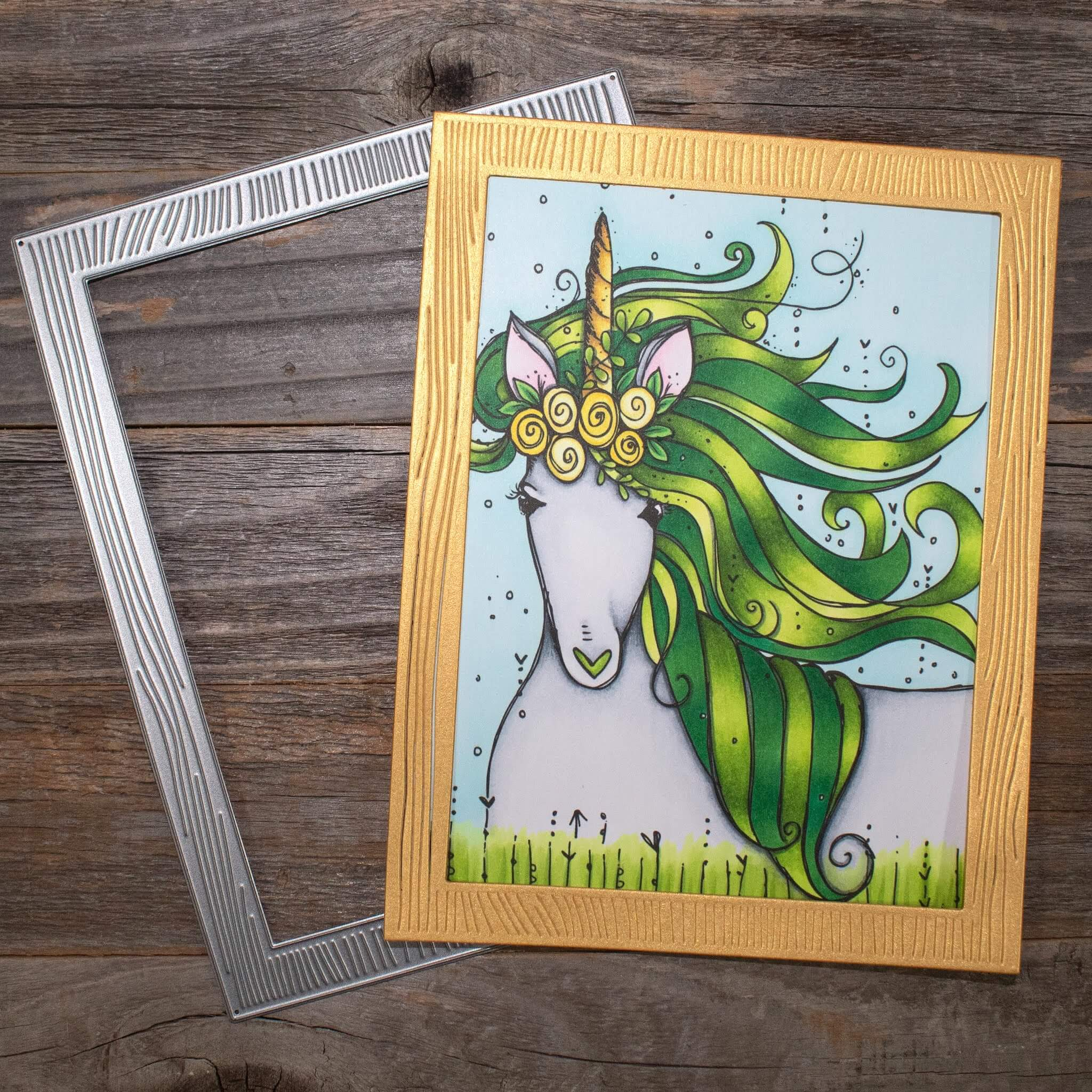 St Patricks Day Unicorn Shaker Card Frame and Coloring
