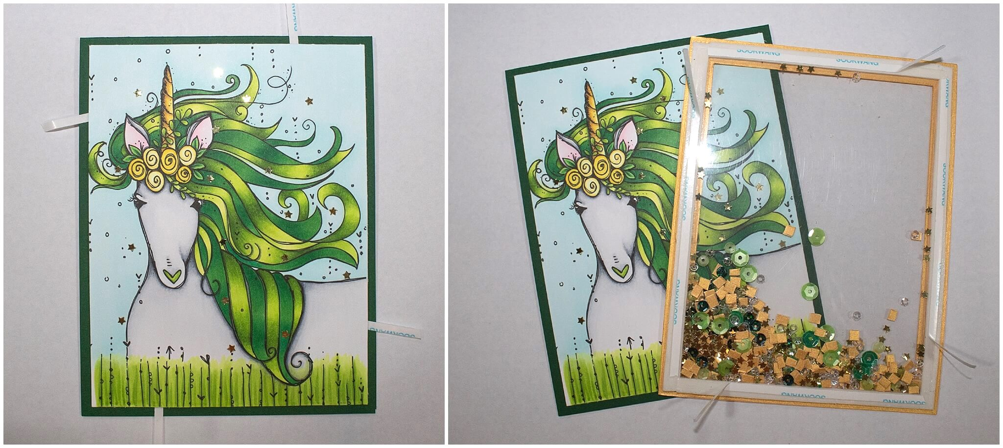 St Patricks Day Unicorn Shaker Card Assembly