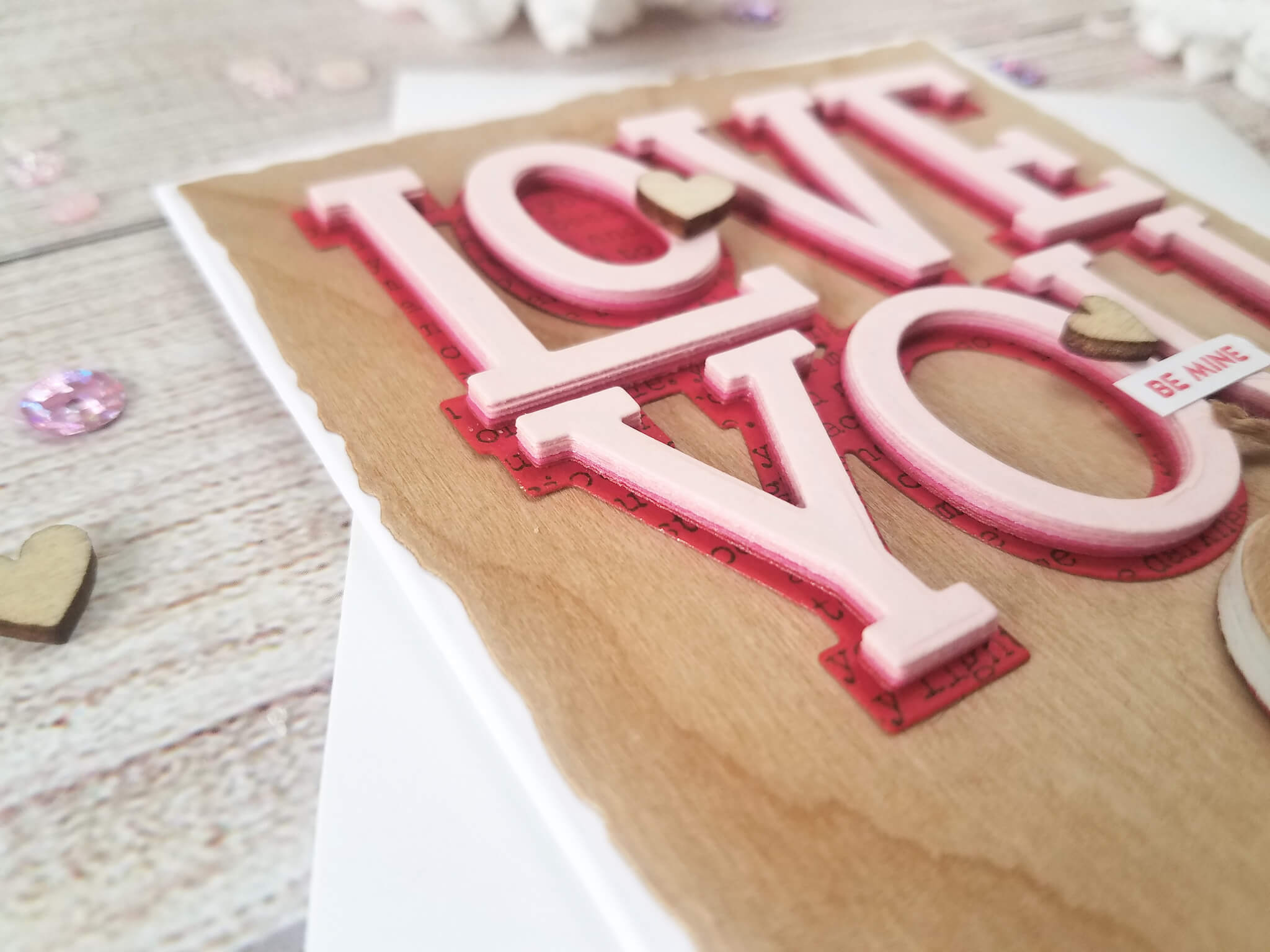 Die Cut Layering Valentine Card Ombre Effect