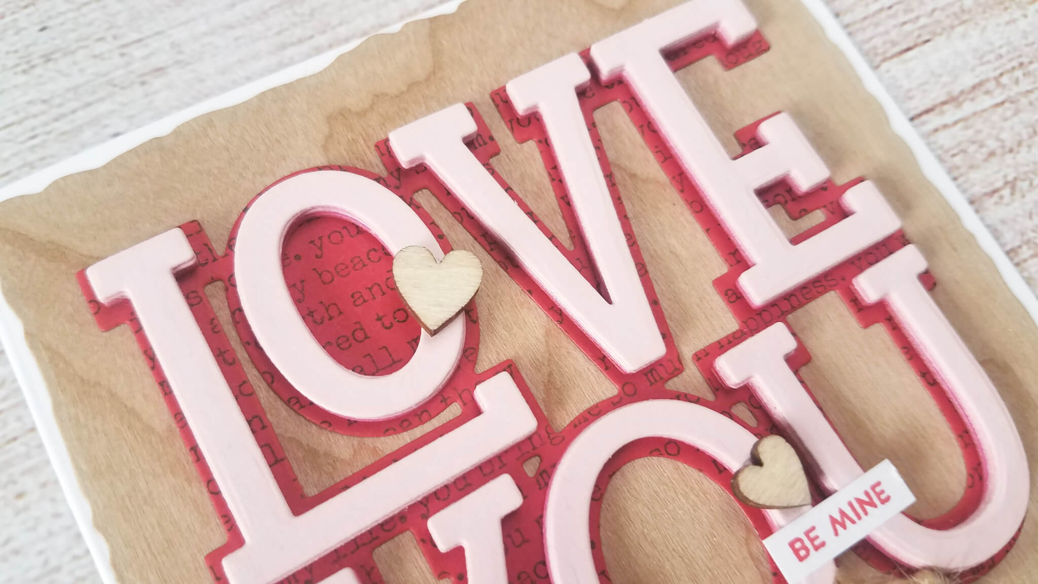 Die Cut Layering Valentine Card Glued Letters