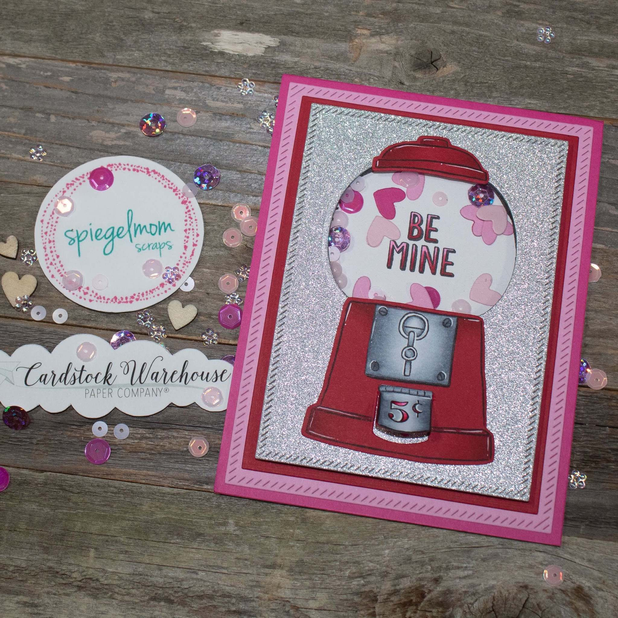 Valentine Cardstock Paper Bubblegum Machine Shaker Cards With Sequins