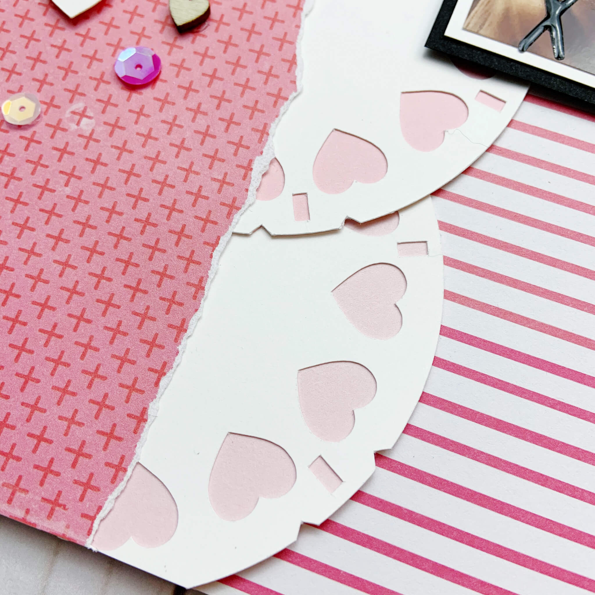 Valentine Cardstock Paper Viewfinder Scrapbook Layout and Cards