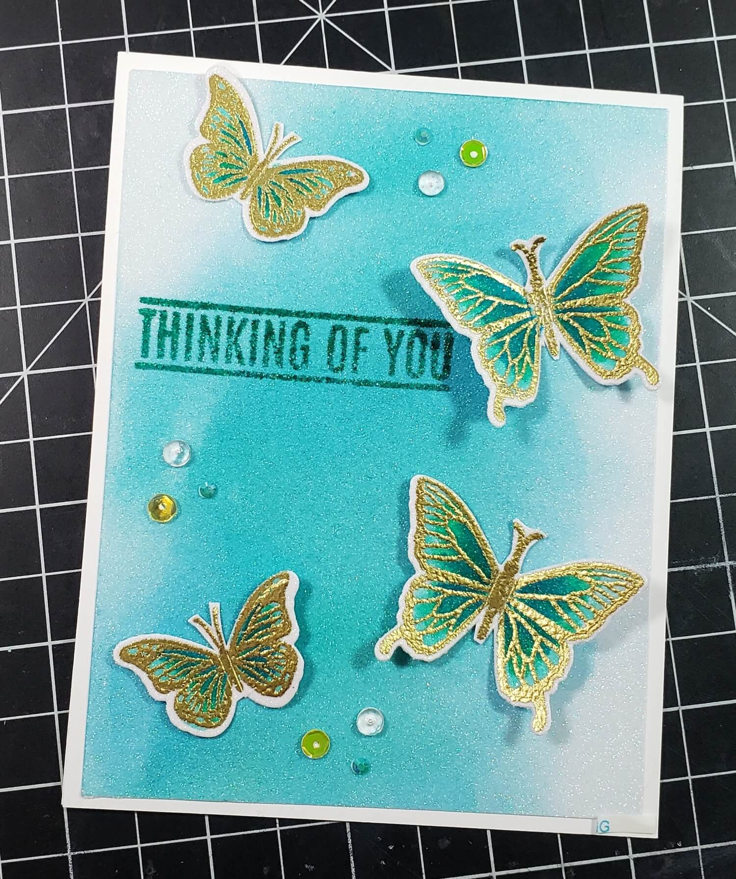 Finished White Glitter Butterfly Card with Sequins