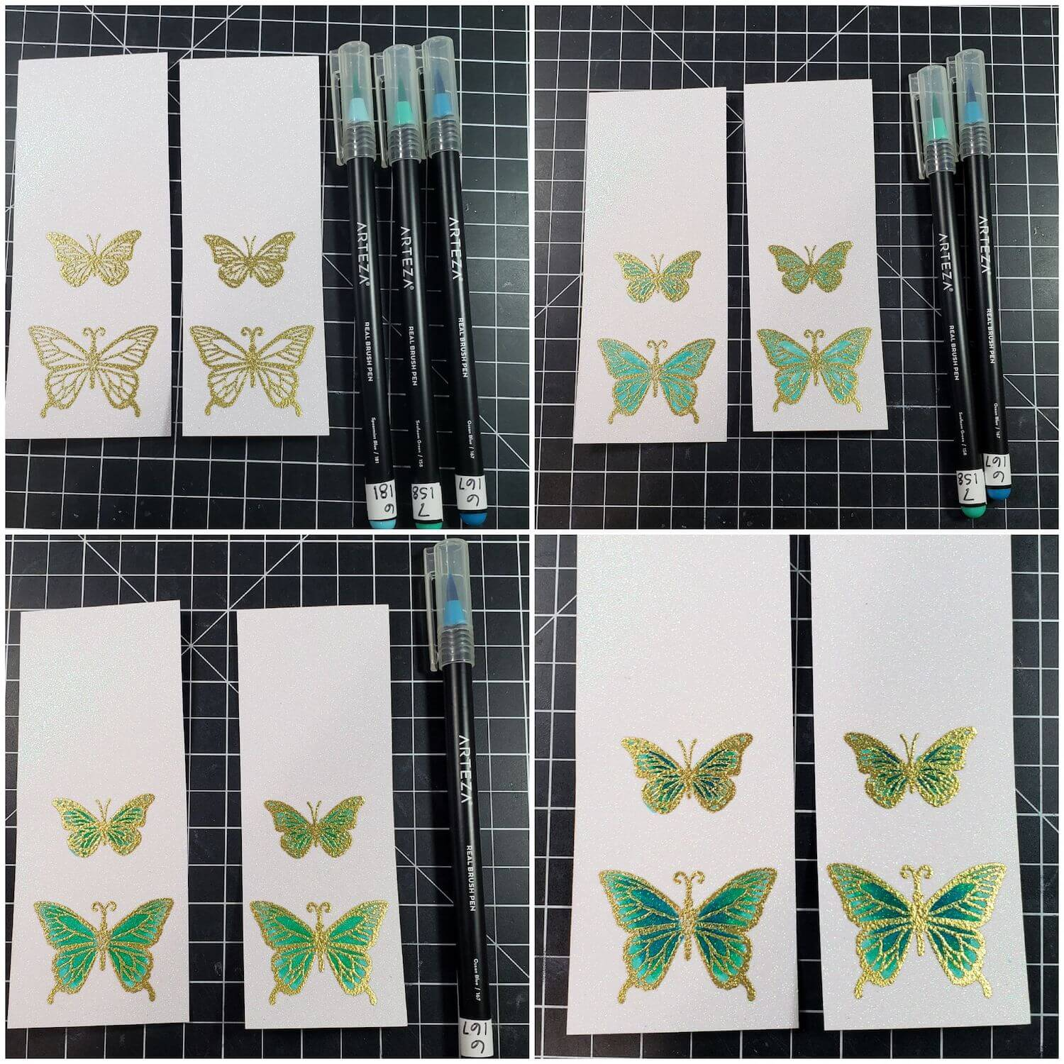 Coloring stamped butterflies