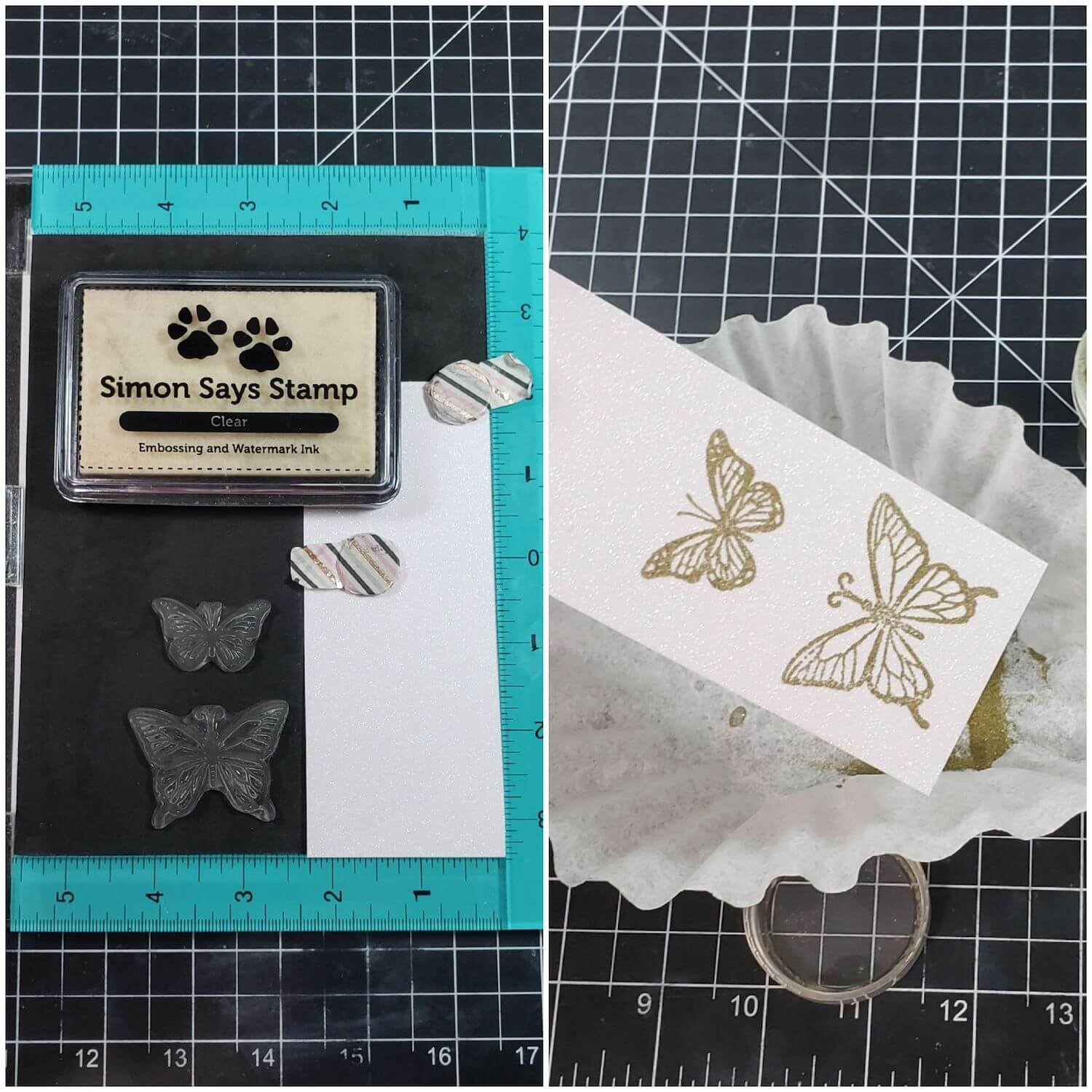 Stamping and embossing butterflies