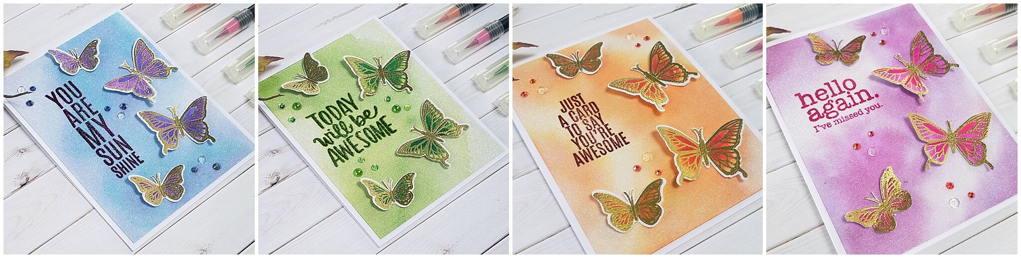 watercolor white diamond sparkle butterfly cards