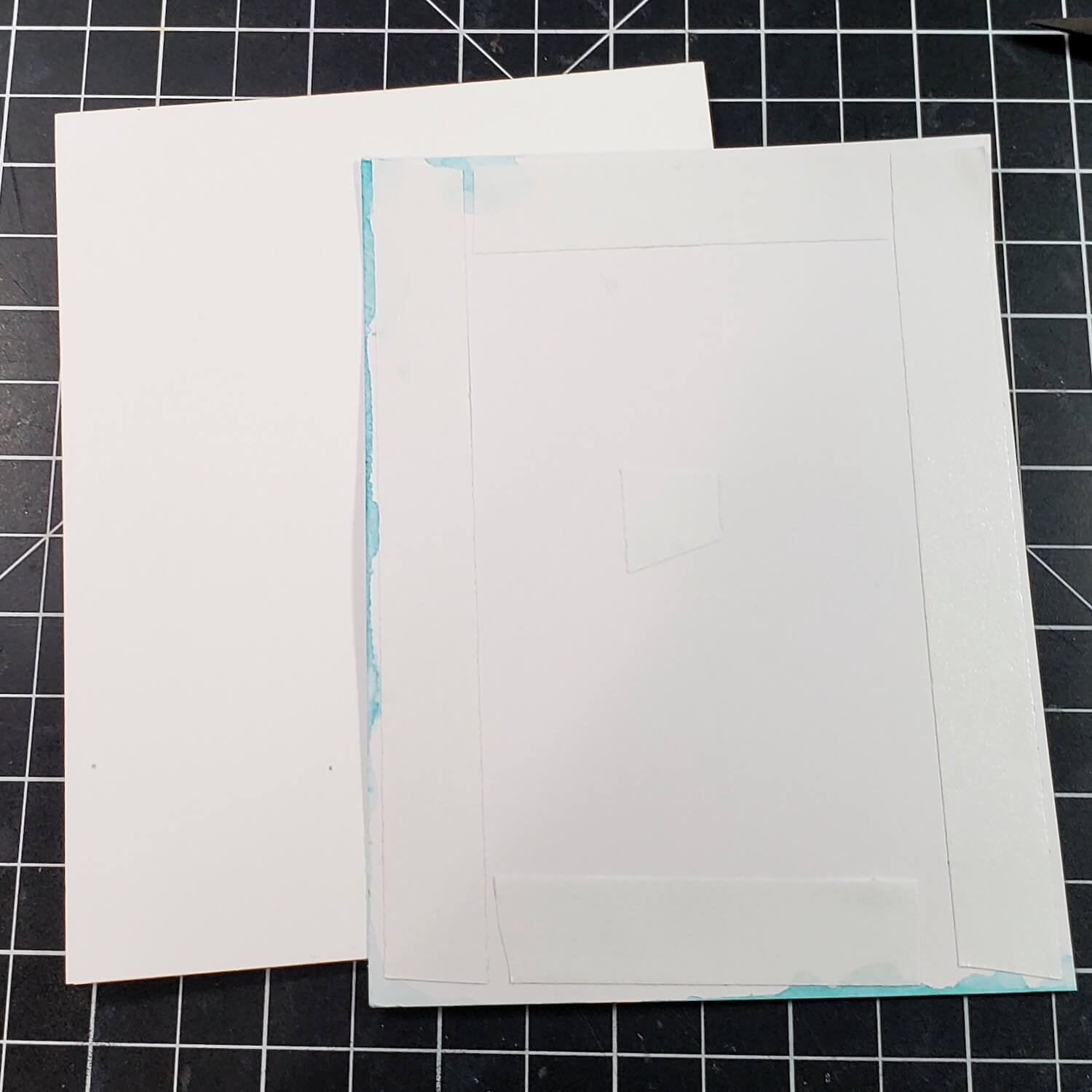 Double-sided tape on back of card panel