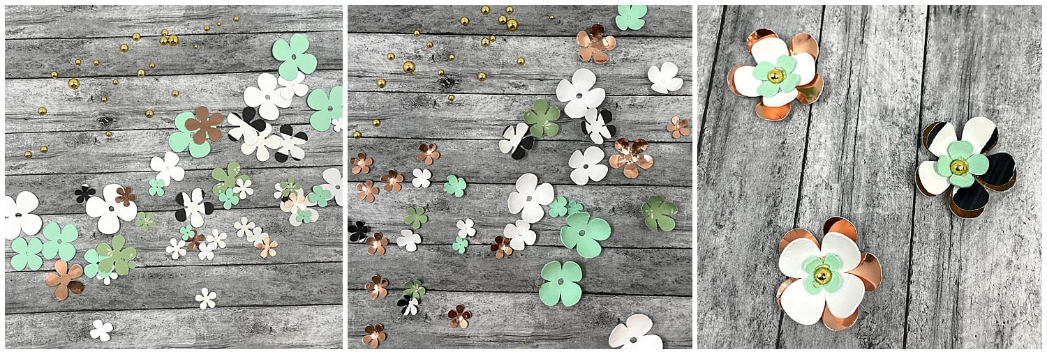 rounding paper flowers to add to paper watering can