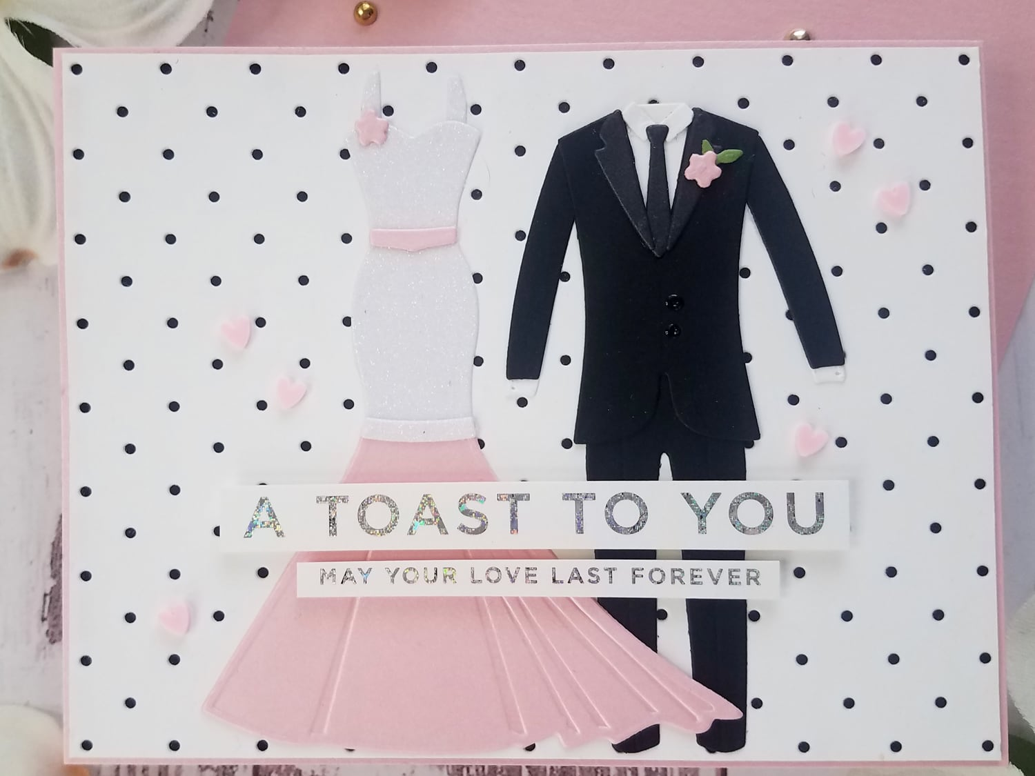 A Toast To You Wedding Card with Die Cut Dress and Tuxedo