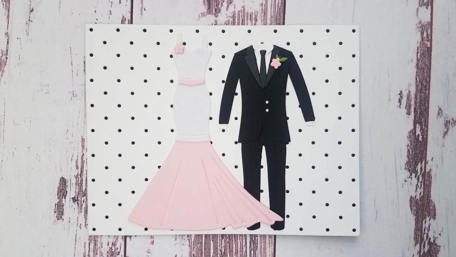 assembled dress and tuxedo for wedding card