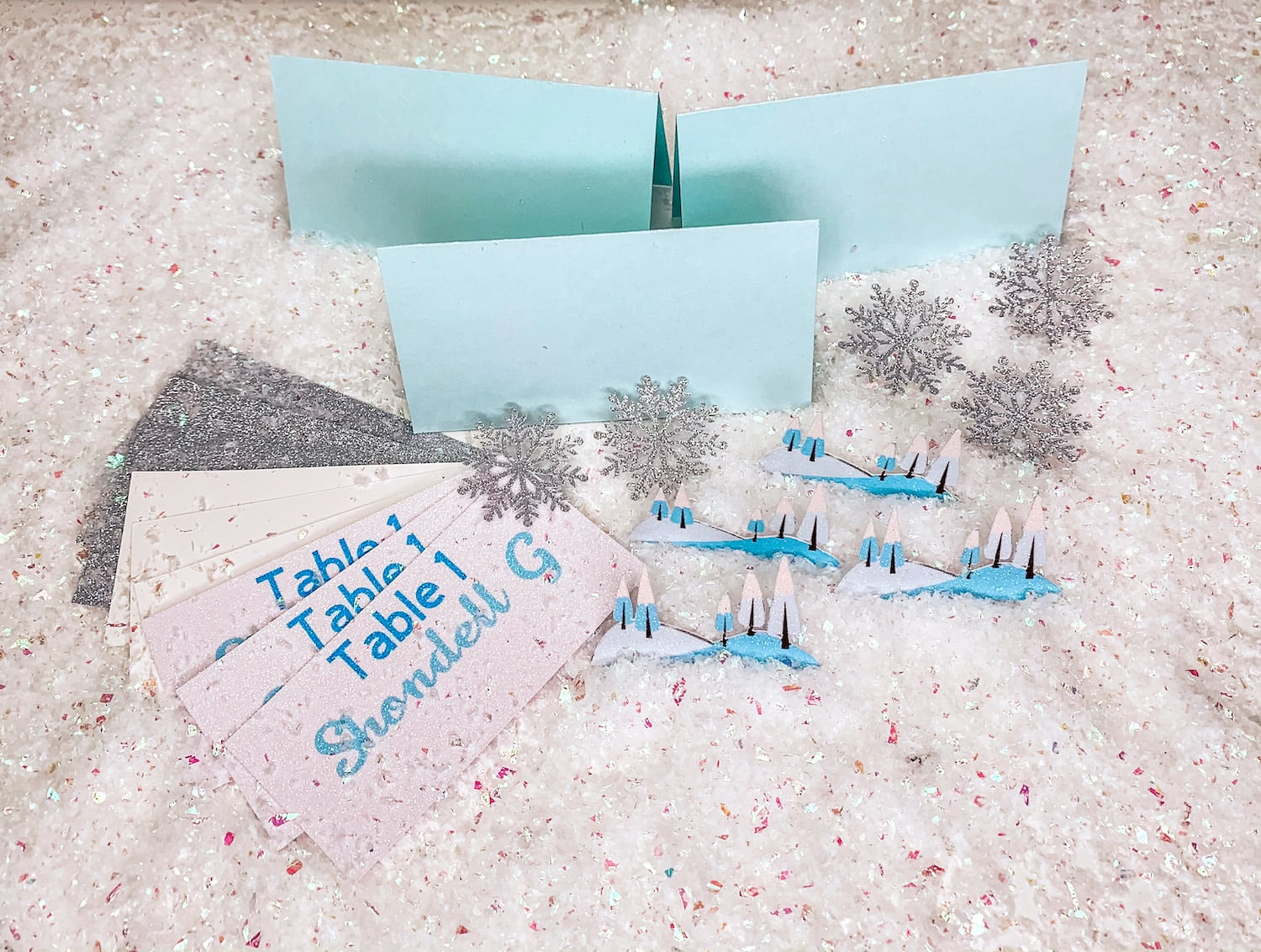 Cut and printed die cuts for Winter Wonderland Place Cards