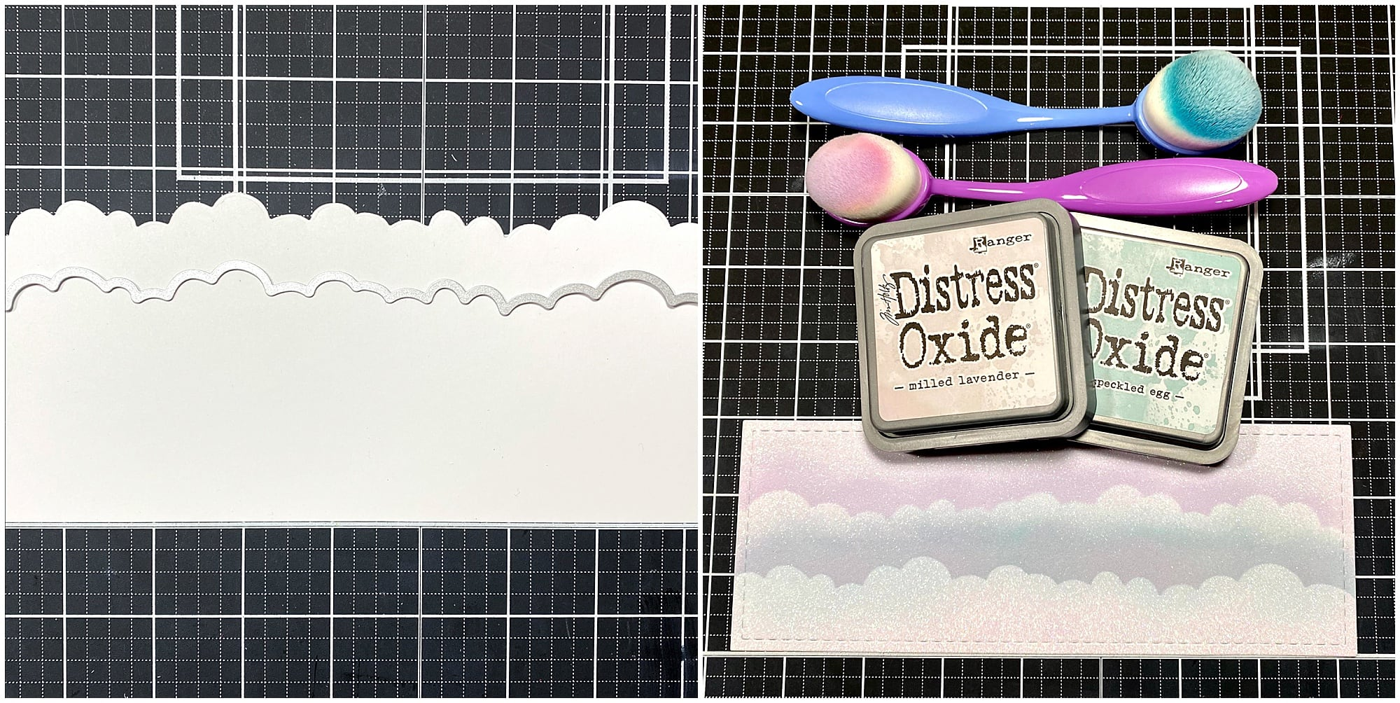 die cut cloud border stencil and blending on Diamond Print White Glitter Paper