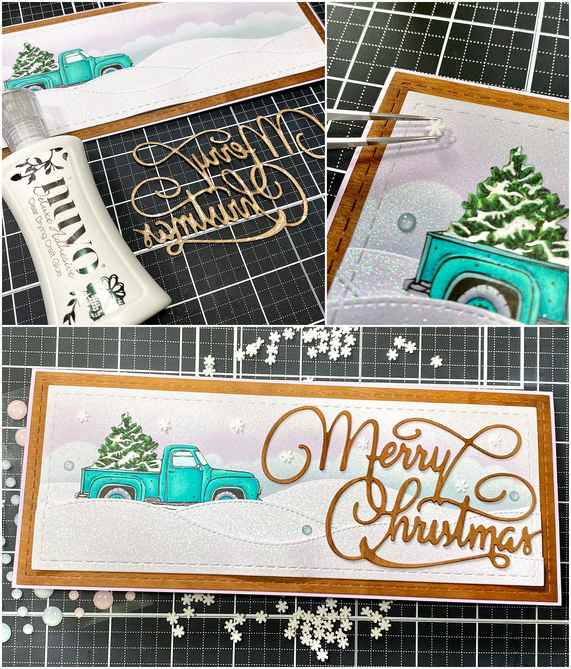adding embellishments to winter wonderland card using nuvo glue